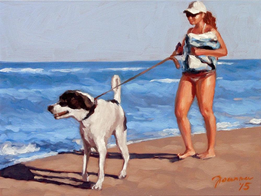 """Spot Finder -- Series Painting of Dogs & Owners on the Beach"" original fine art by Joanna Bingham"
