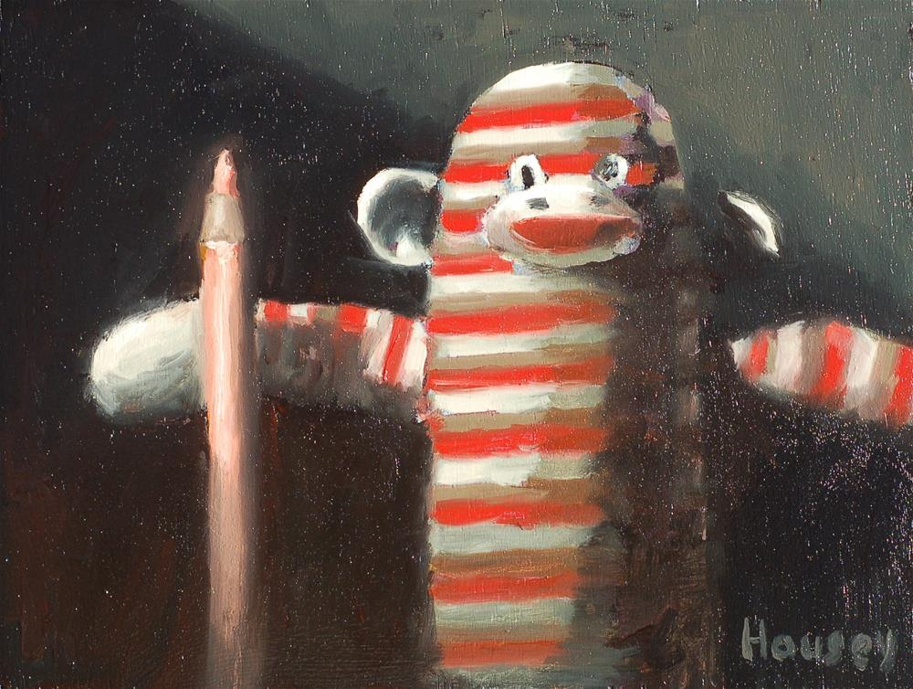 """Sock Monkey"" original fine art by Bruce Housey"