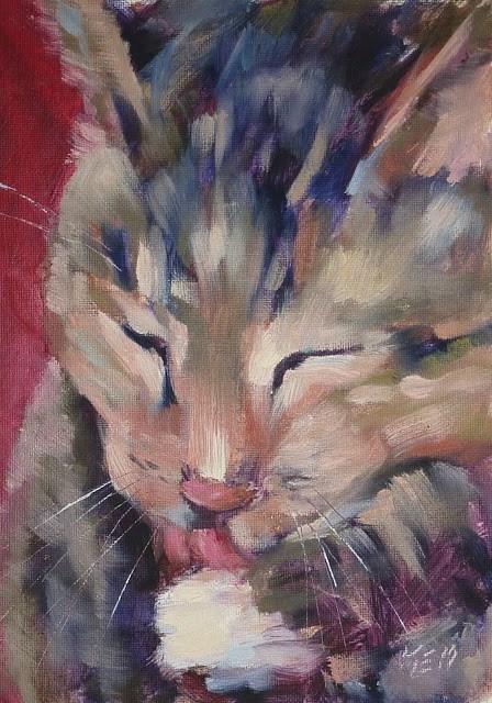 """Meet Jennifur the Studio Cat"" original fine art by Karen Margulis"