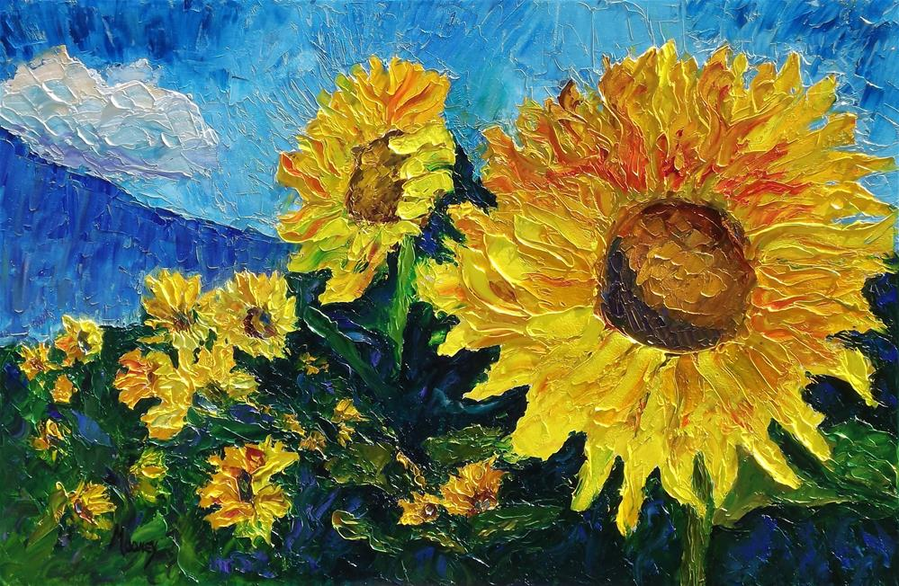 """Sunflower Riot"" original fine art by Linda mooney"