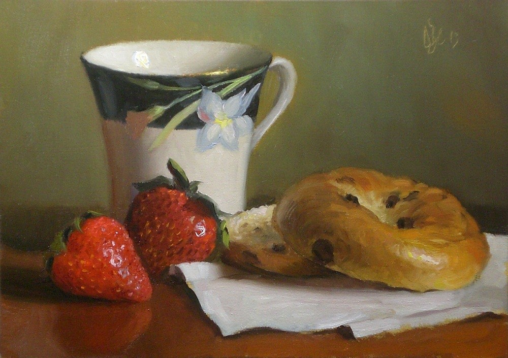 """Raisin Bagel and Strawberries"" original fine art by Debra Becks Cooper"