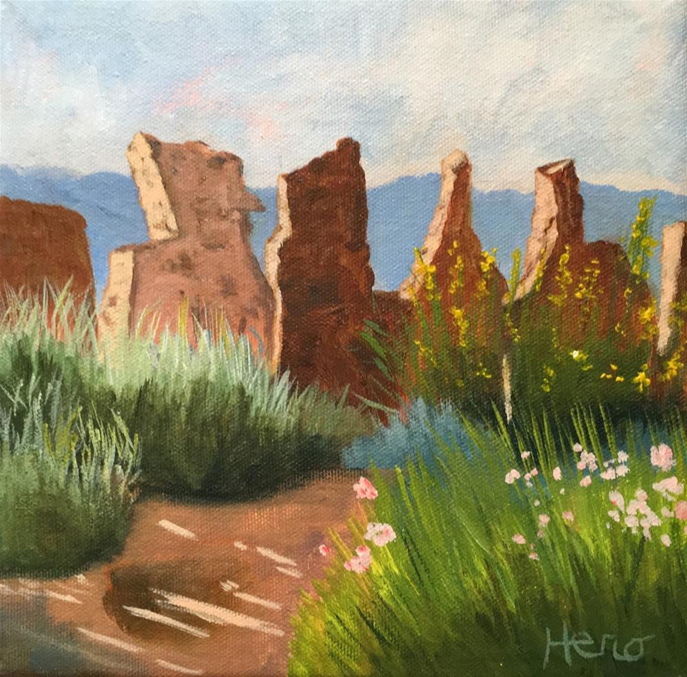 """The Rock Wall Daily Painting 6"" original fine art by Marcia Hero"