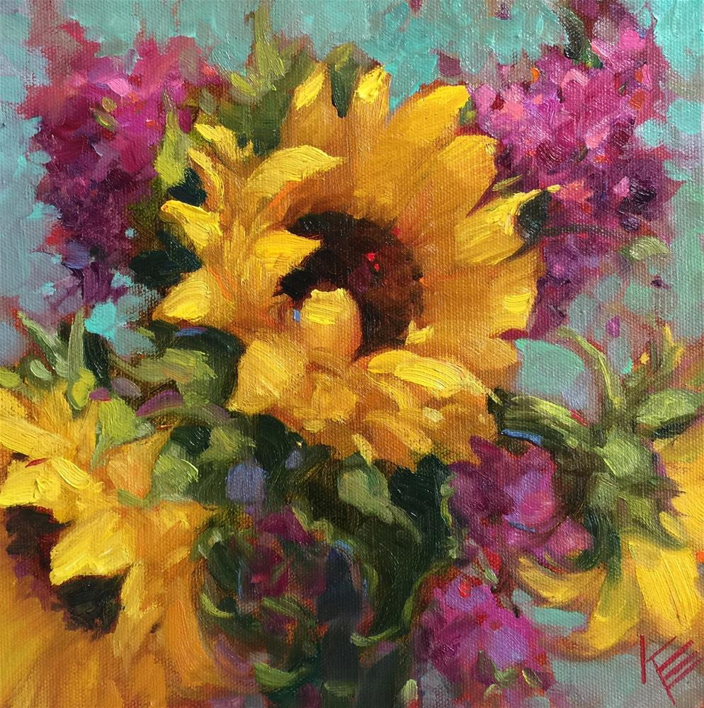"""Sunflower Dance"" original fine art by Krista Eaton"