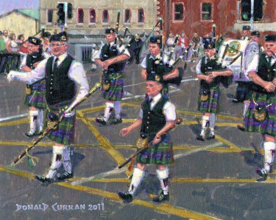 """Irish Bagpipes"" original fine art by Donald Curran"