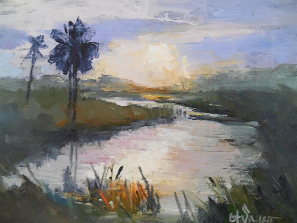 """Tropical Landscape Painting, Daily Painting, Small Oil Painting, Sunset in the Wetlands, 6x8 Oil"" original fine art by Carol Schiff"