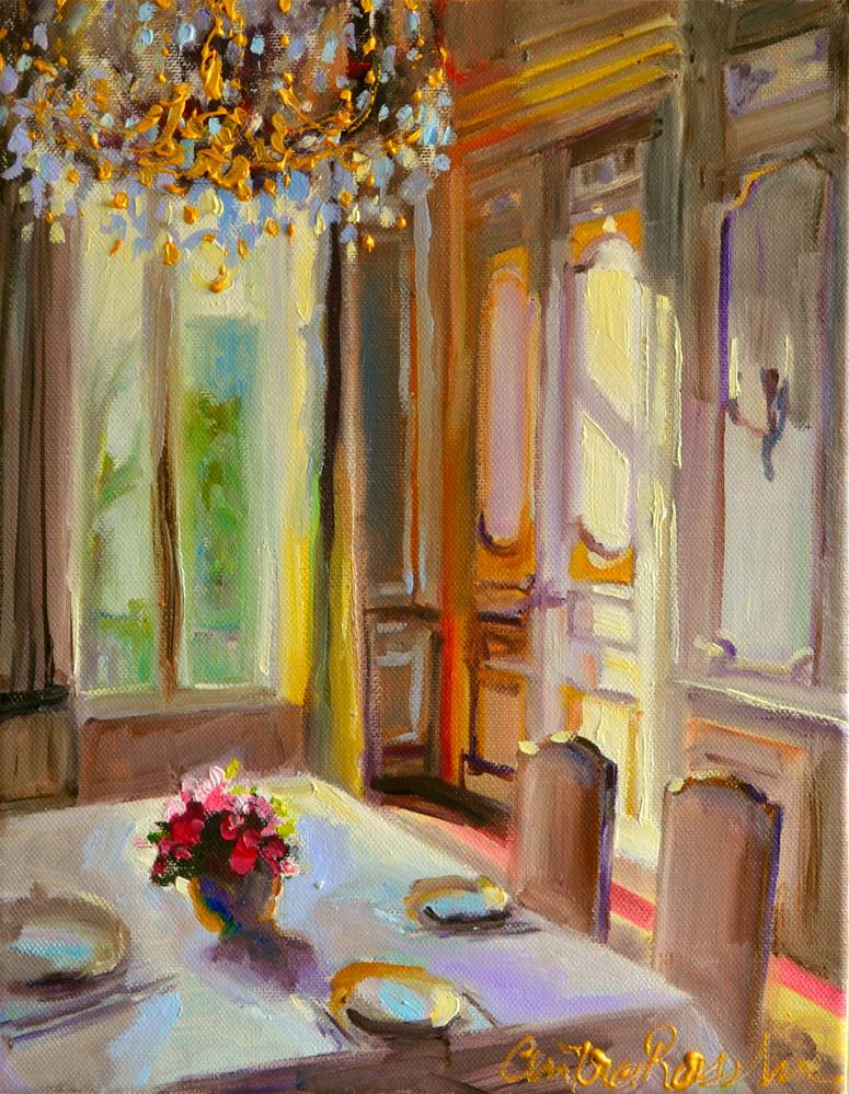 """FRENCH CHATEAU INTERIOR"" original fine art by Cecilia Rosslee"