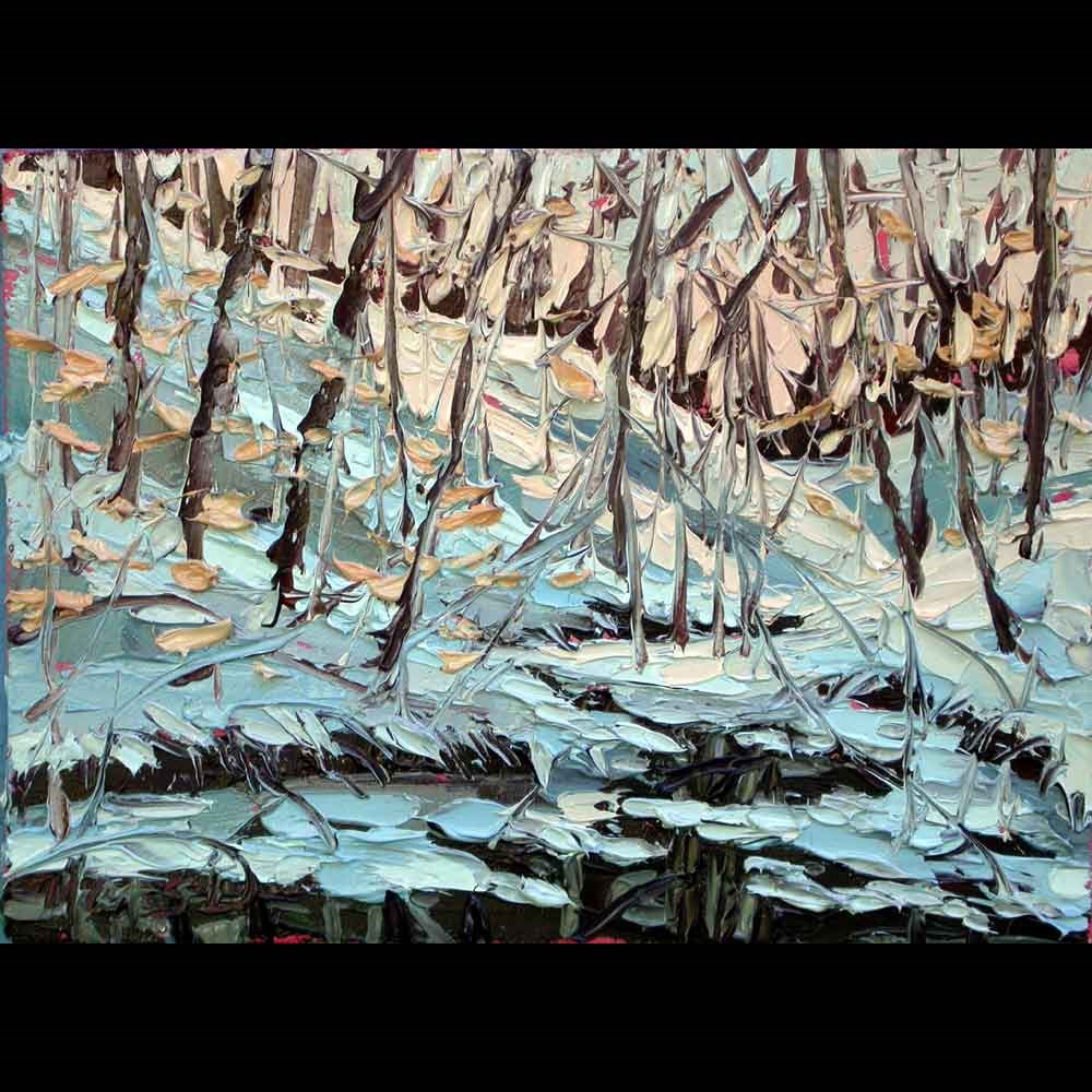 """100616 S 6x8 no1 Dusk in the Snowy Forest"" original fine art by Charlene Marsh"