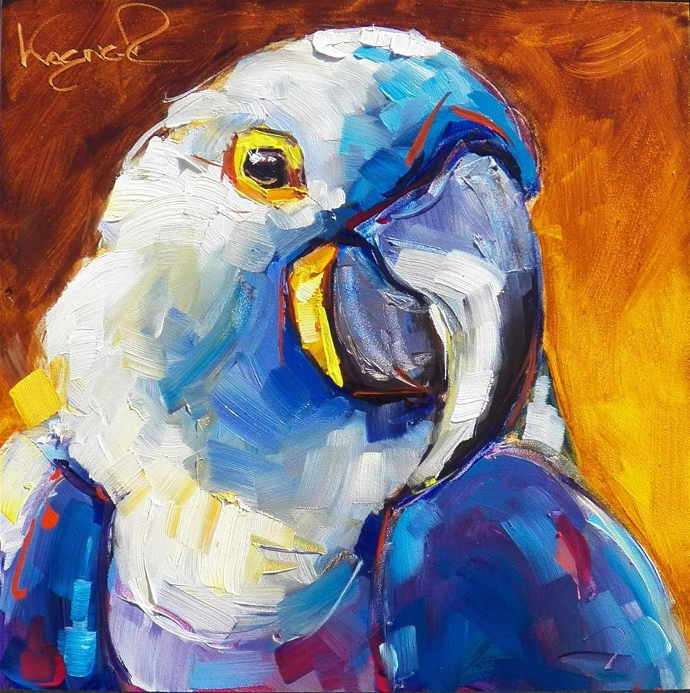 """BLUE MACAW BIRD in OILS by OLGA WAGNER"" original fine art by Olga Wagner"