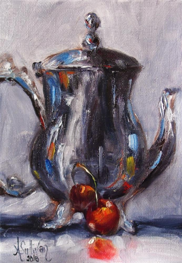 """Made For Each Other teapot painting by Alabama Artist Angela Sullivan"" original fine art by Angela Sullivan"
