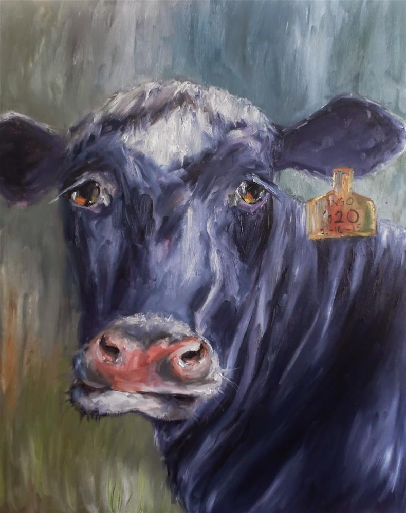 """Bongo 620 cow painting by Alabama Artist Angela Sullivan"" original fine art by Angela Sullivan"