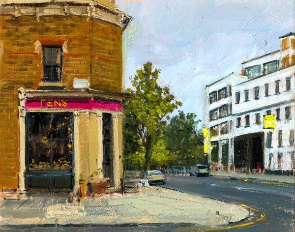 """Ashburham Road, off Lots Road (18) Chelsea Marathon"" original fine art by Adebanji Alade"