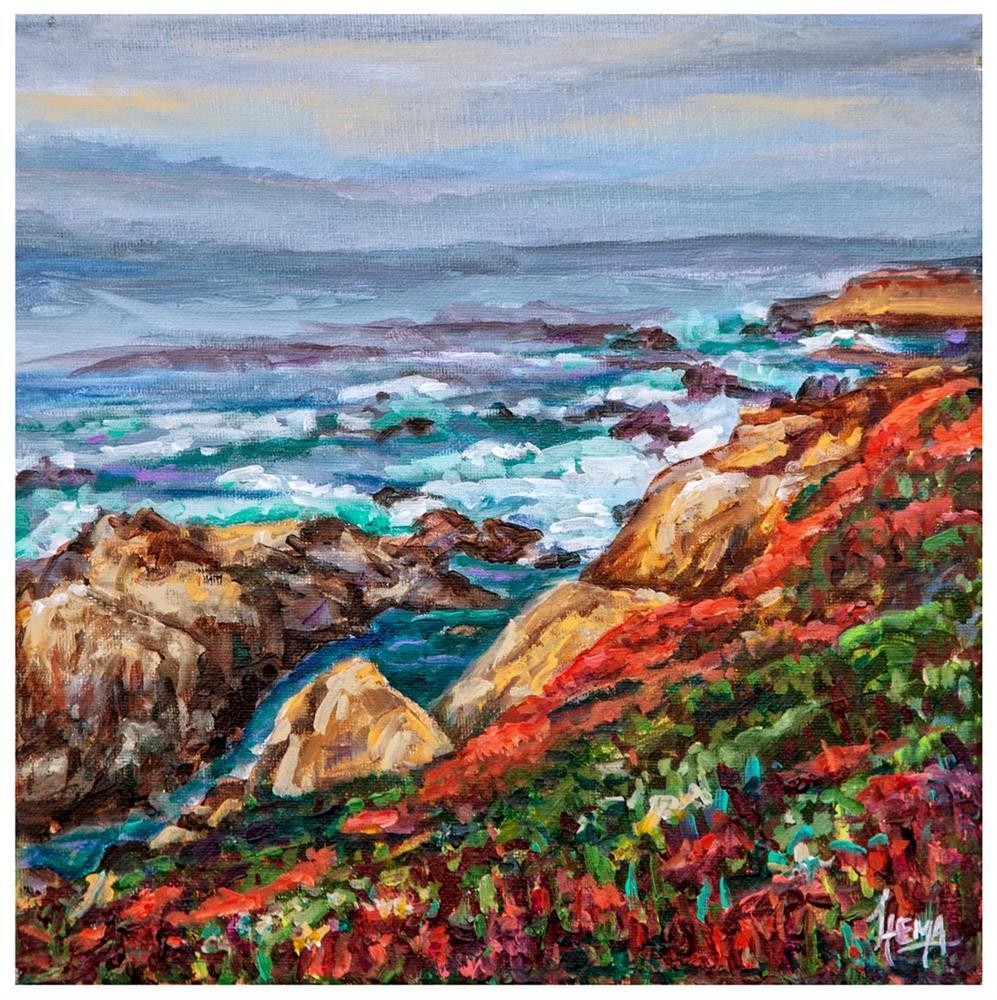 """Garrapata Cliffs"" original fine art by Hema Sukumar"