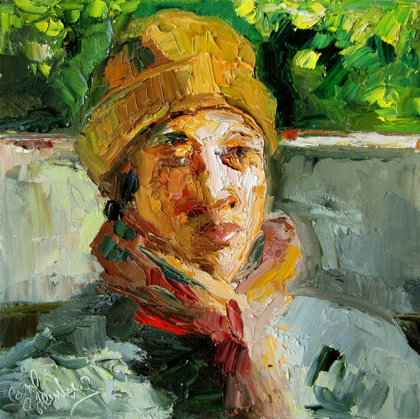 """B in Ginger Cap on a Cold New Years Day in Sunny LA"" original fine art by Carol Steinberg"