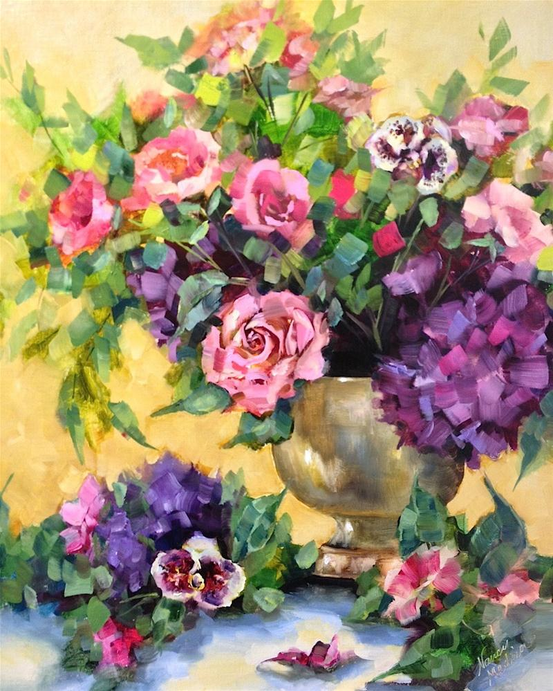 """Vintage Hydrangeas and Pink Roses"" original fine art by Nancy Medina"