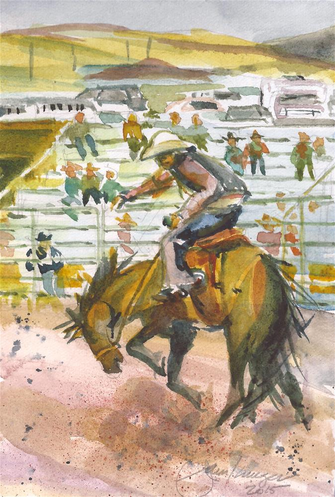 """Bronco Riding"" original fine art by Jean Krueger"