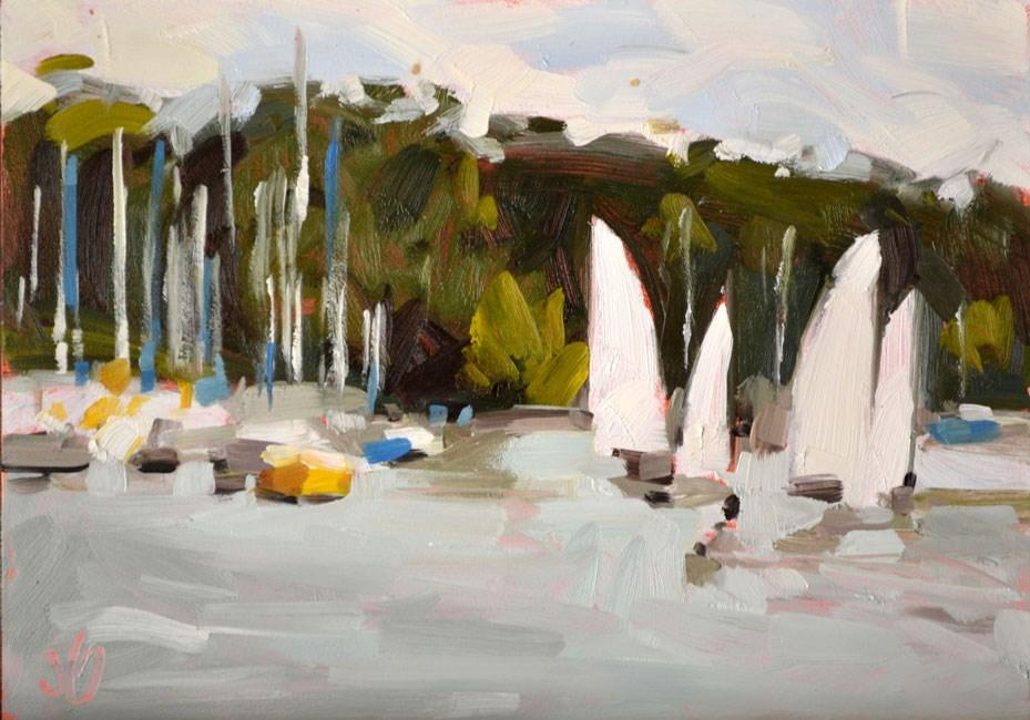 """Sails at Geist"" original fine art by Jessica Green"