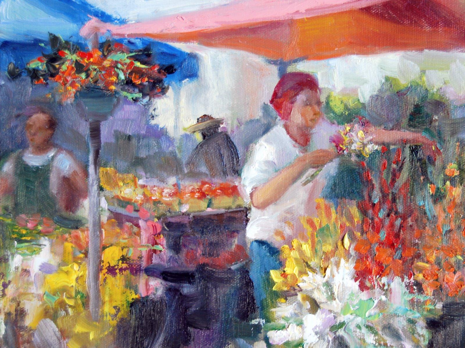 """""""Flower Stall"""" original fine art by Julie Ford Oliver"""