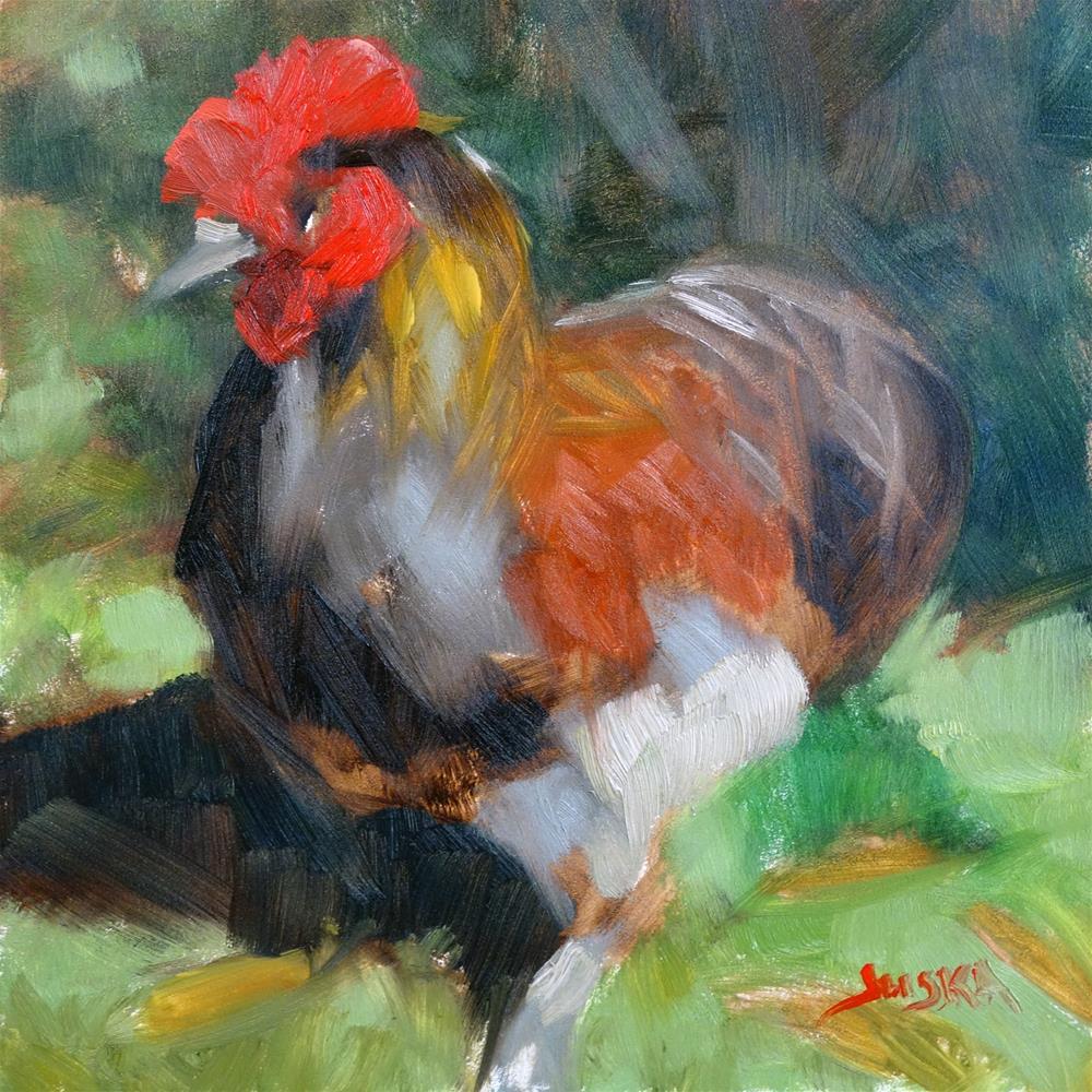 """Good Morning, Rooster!"" original fine art by Elaine Juska Joseph"