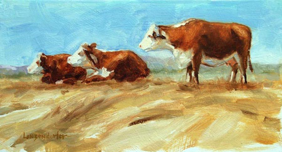 """A BEVY OF BOVINES"" original fine art by Dj Lanzendorfer"