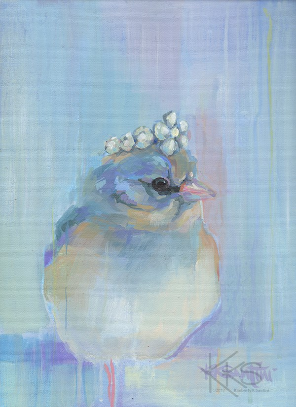 """The Bluebird of Happiness"" original fine art by Kimberly Santini"