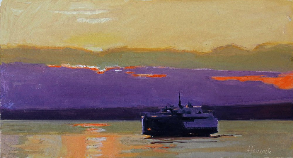 """Purple Sunset Ferry"" original fine art by Gretchen Hancock"