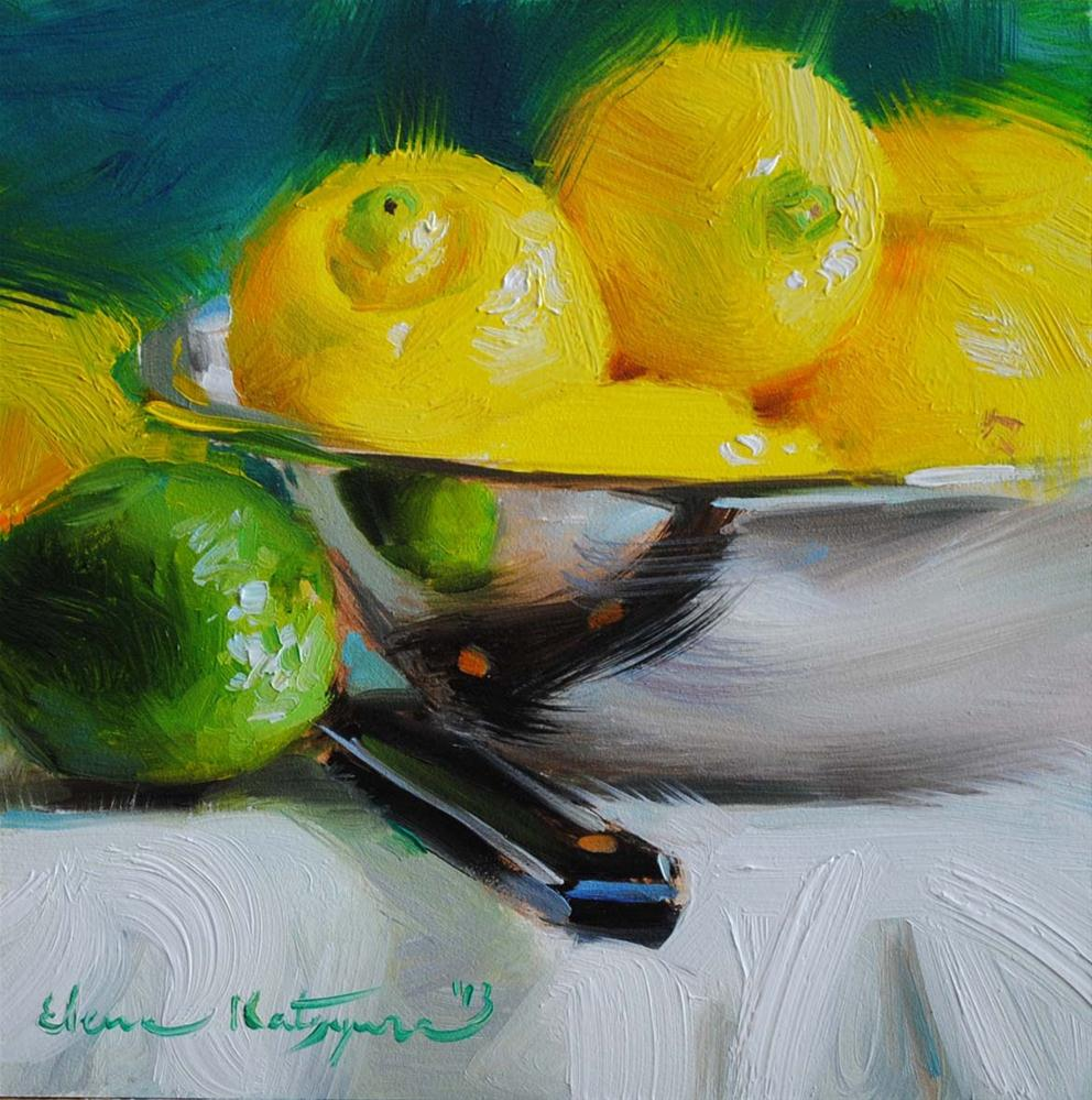 """Lemons and Lime"" original fine art by Elena Katsyura"