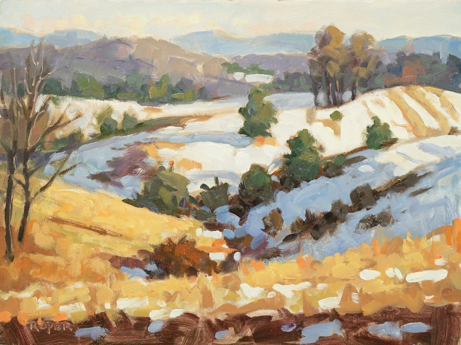"""DAY 29: Winter's Gold"" original fine art by Stuart Roper"