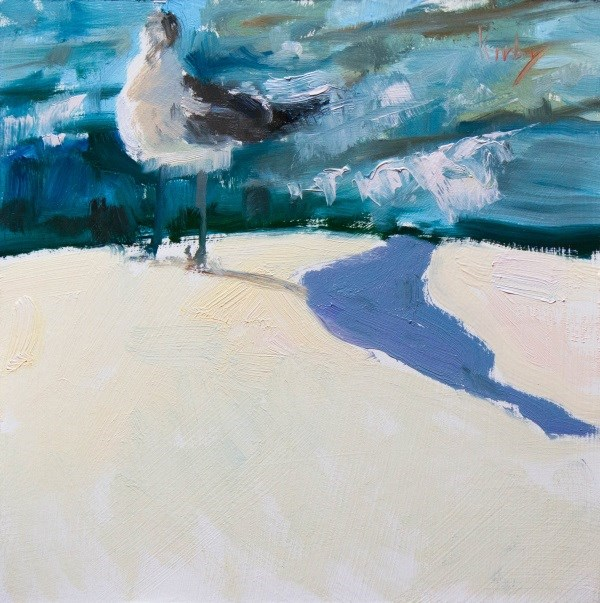 """Seagull at Bolivar Ferry"" original fine art by Randall Cogburn"
