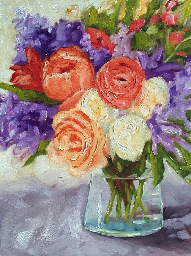 """Purple & Coral"" original fine art by Hallie Kohn"