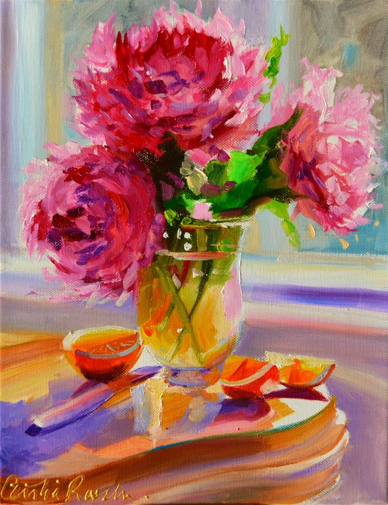 """JUST PICKED PEONIES"" original fine art by Cecilia Rosslee"