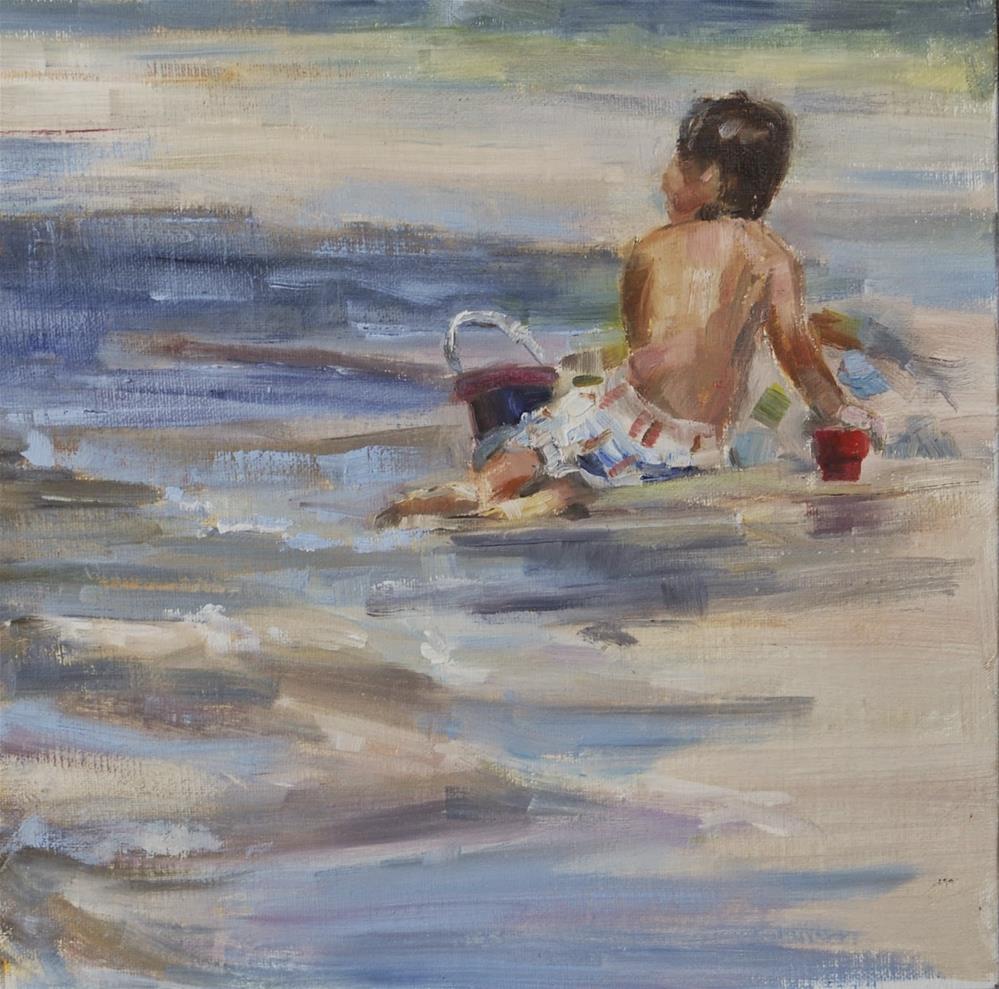 """""""Boy on the Beach, Original oil by Carol DeMumbrum"""" original fine art by Carol DeMumbrum"""