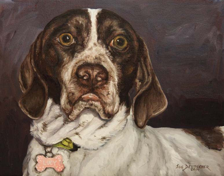 """English Pointer Portrait"" original fine art by Sue Deutscher"