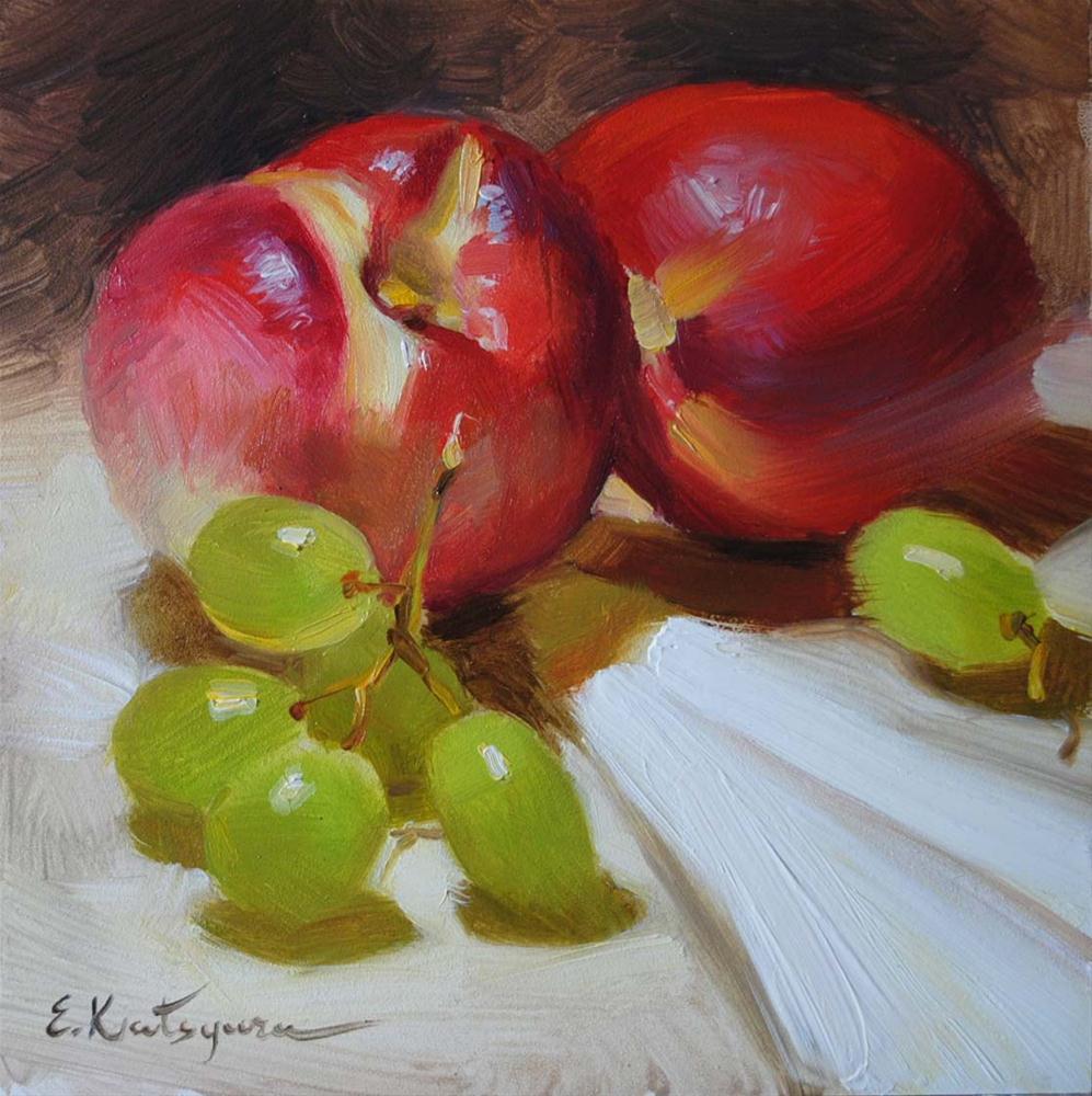 """Nectarines and Grapes"" original fine art by Elena Katsyura"