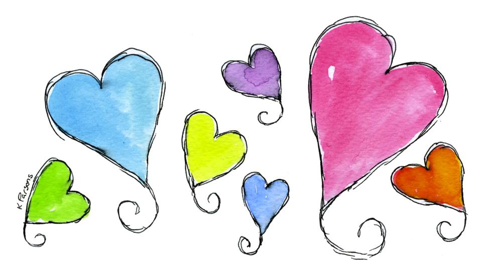 """Seven Curly Hearts"" original fine art by Kali Parsons"