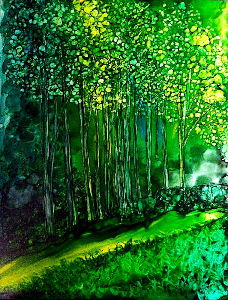 """Sunlit Forest"" original fine art by Korinne Carpino"