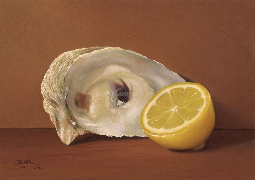 """Lemon Half with Oyster Shell"" original fine art by Faith Te"
