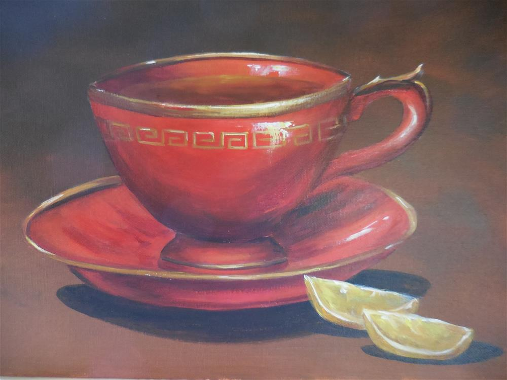 """Red Teacup"" original fine art by Terri Nicholson"