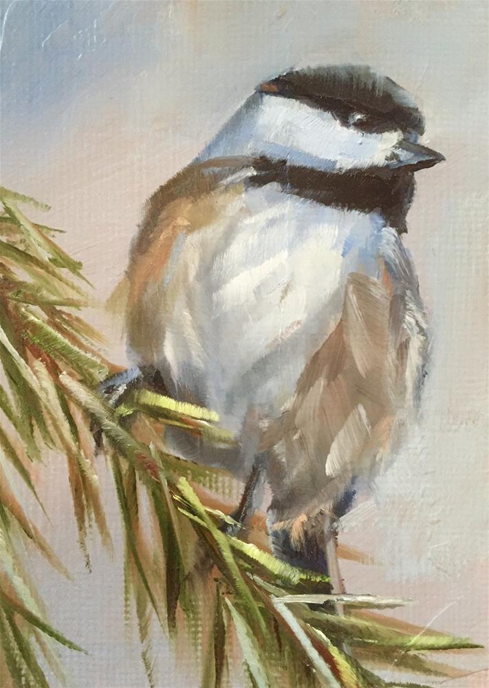 """Christmas Tree Chickadee"" original fine art by Gary Bruton"