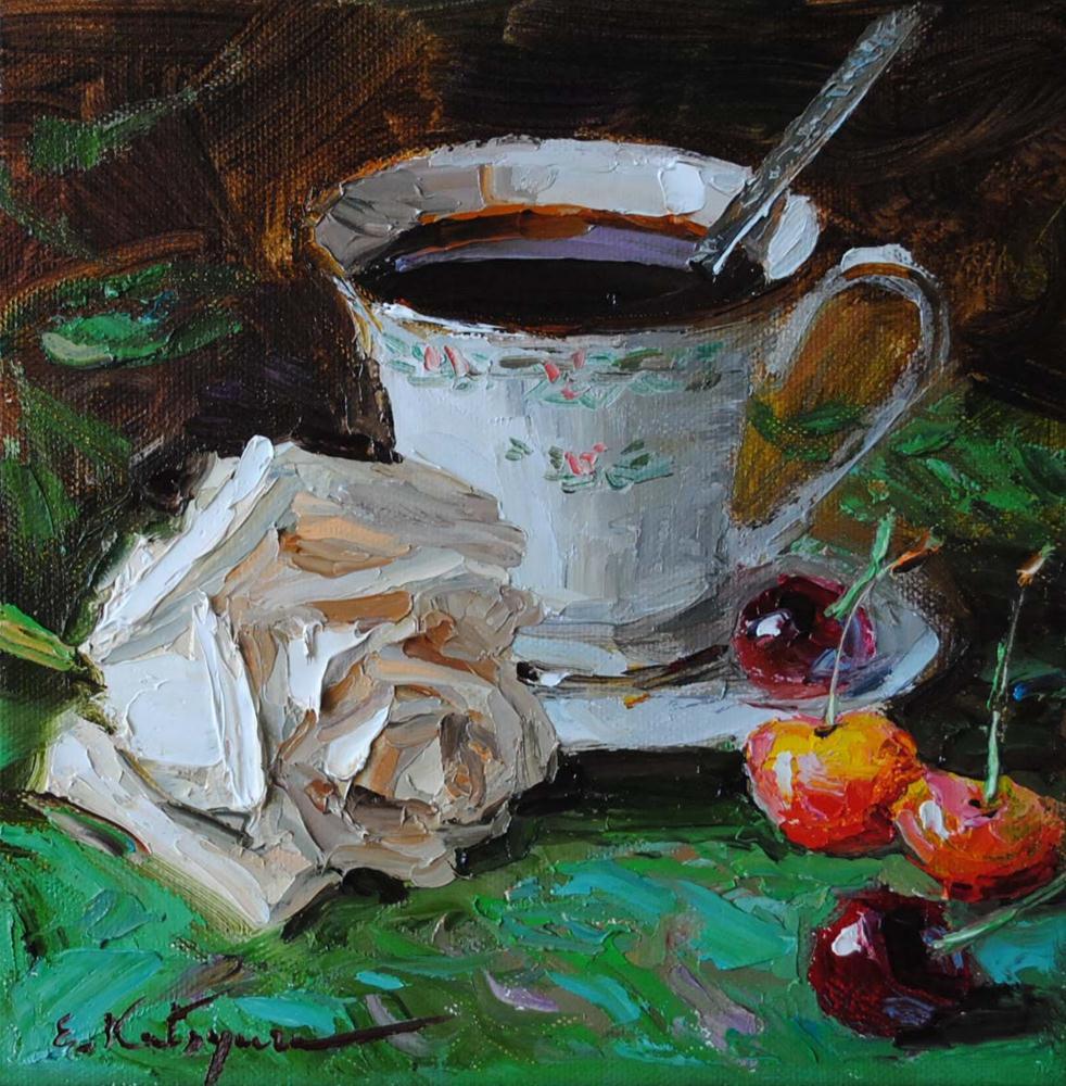 """Coffee with Cherries"" original fine art by Elena Katsyura"