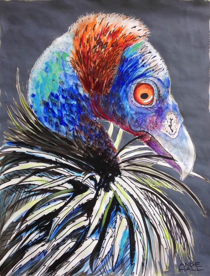"""Vulturine Guinea Fowl"" original fine art by Ande Hall"