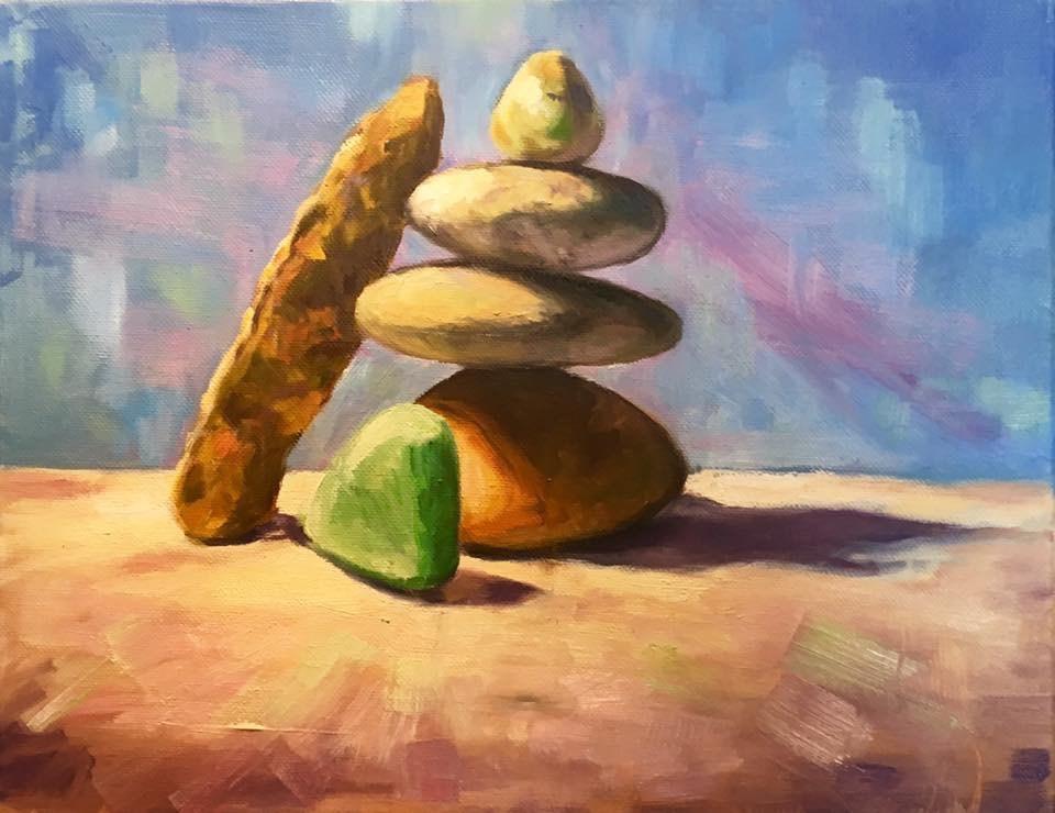 """Stacked Stones"" original fine art by Allison Doke"