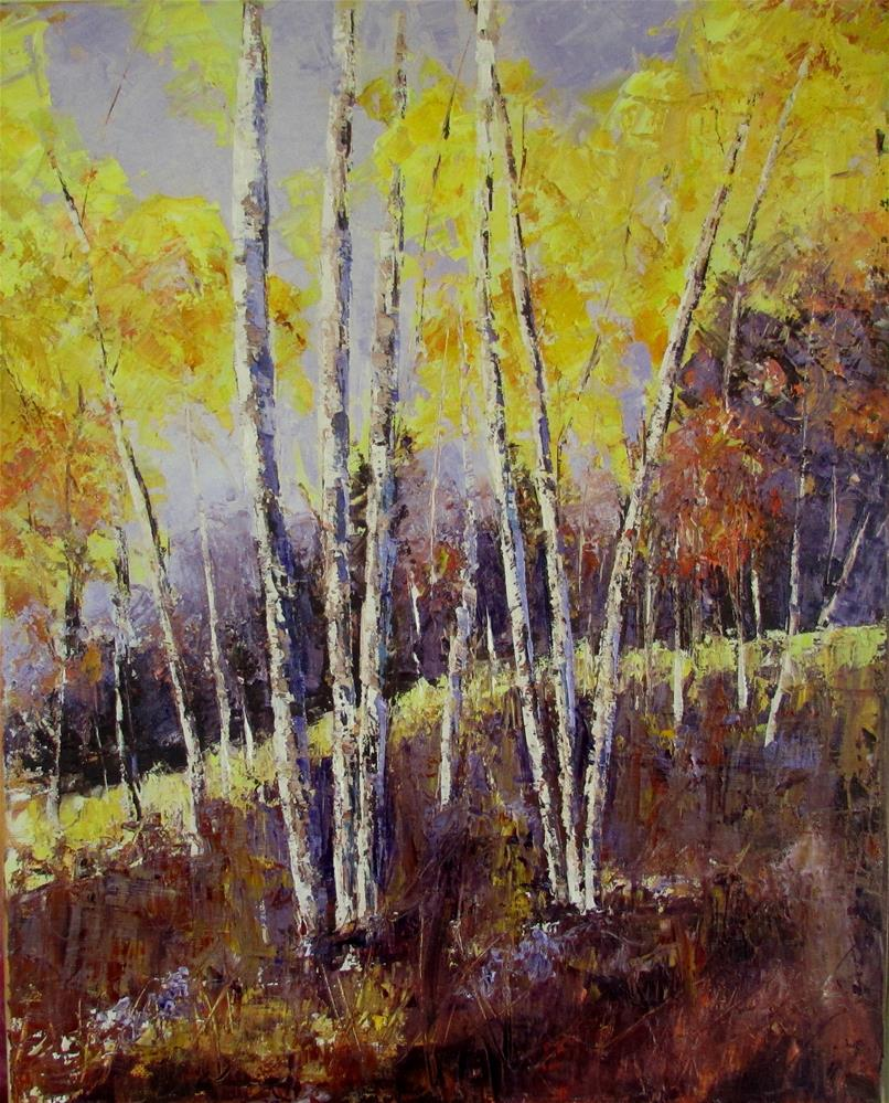 """16 x 20 inch oil Sunlit trees"" original fine art by Linda Yurgensen"