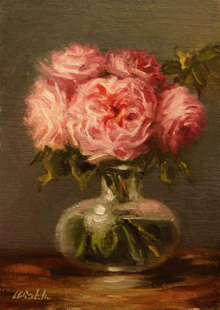 """Pink Roses in Glass,  Oil on 5x7 Linen Panel"" original fine art by Carolina Elizabeth"
