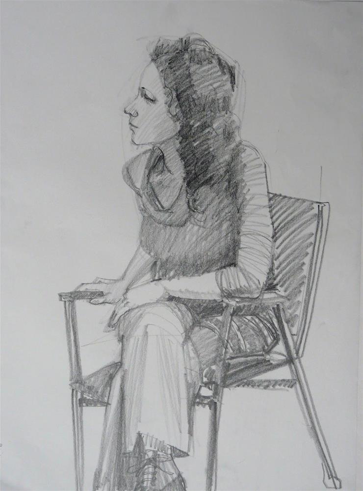"""Drawing of model.figure,graphite on paper,24x18,price$150"" original fine art by Joy Olney"