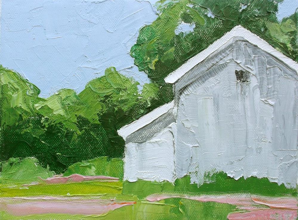 """""""Spring Barn"""" original fine art by lynne french"""