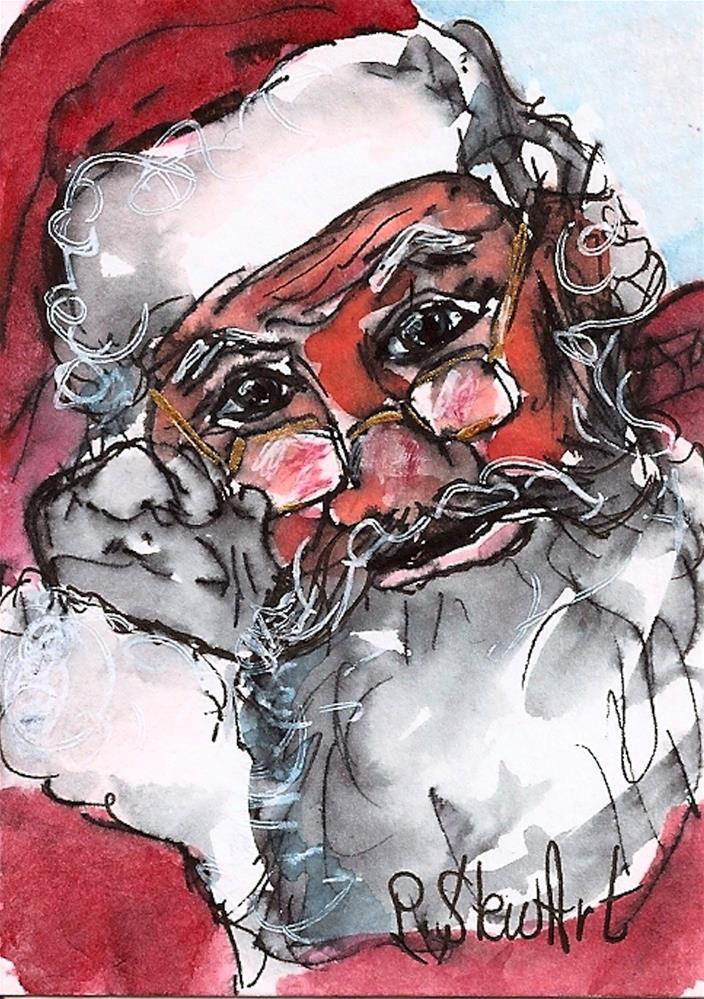 """ACEO Santa #2 of a Series WC & Pen, Original Illustration SFA by Penny StewArt"" original fine art by Penny Lee StewArt"