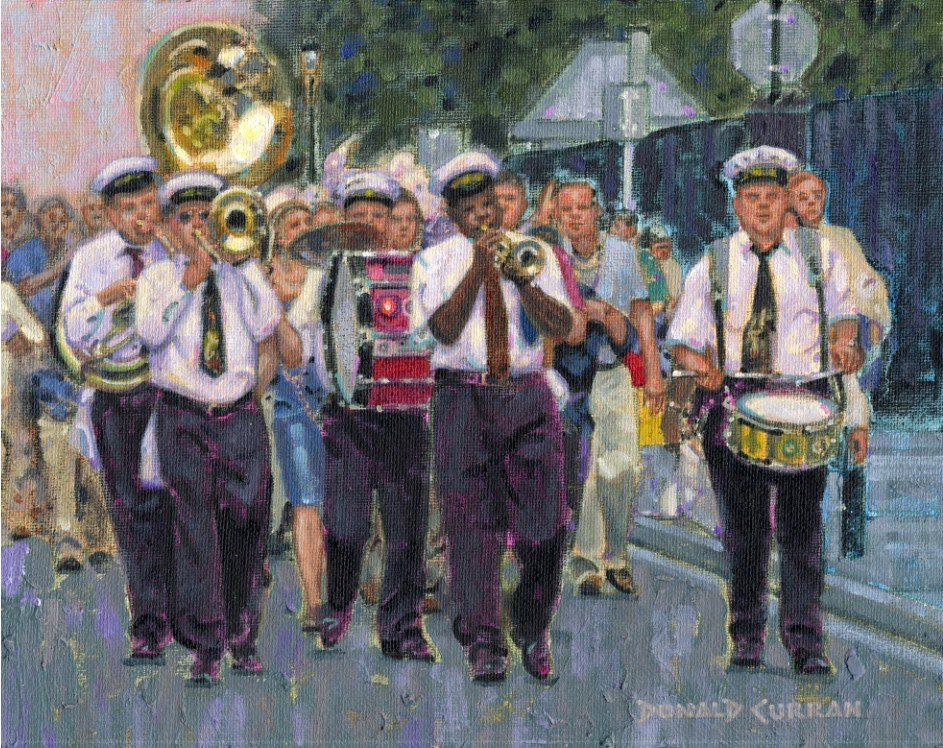 """New Orleans Street Band"" original fine art by Donald Curran"