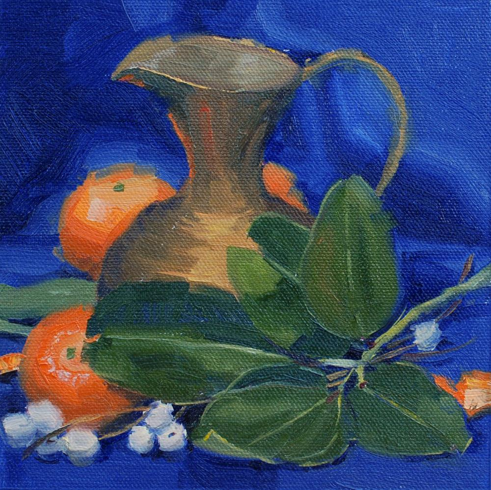"""Brass Pitcher with Snowberries and Madrone Leaves"" original fine art by Susan McManamen"