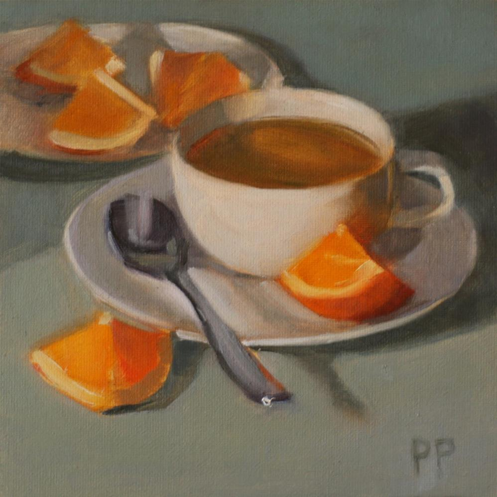 """Tea and Orange Slices (framed)"" original fine art by Pamela Poll"