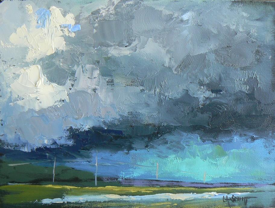 """BIG STORM BREWING, 6x8, OIL"" original fine art by Carol Schiff"